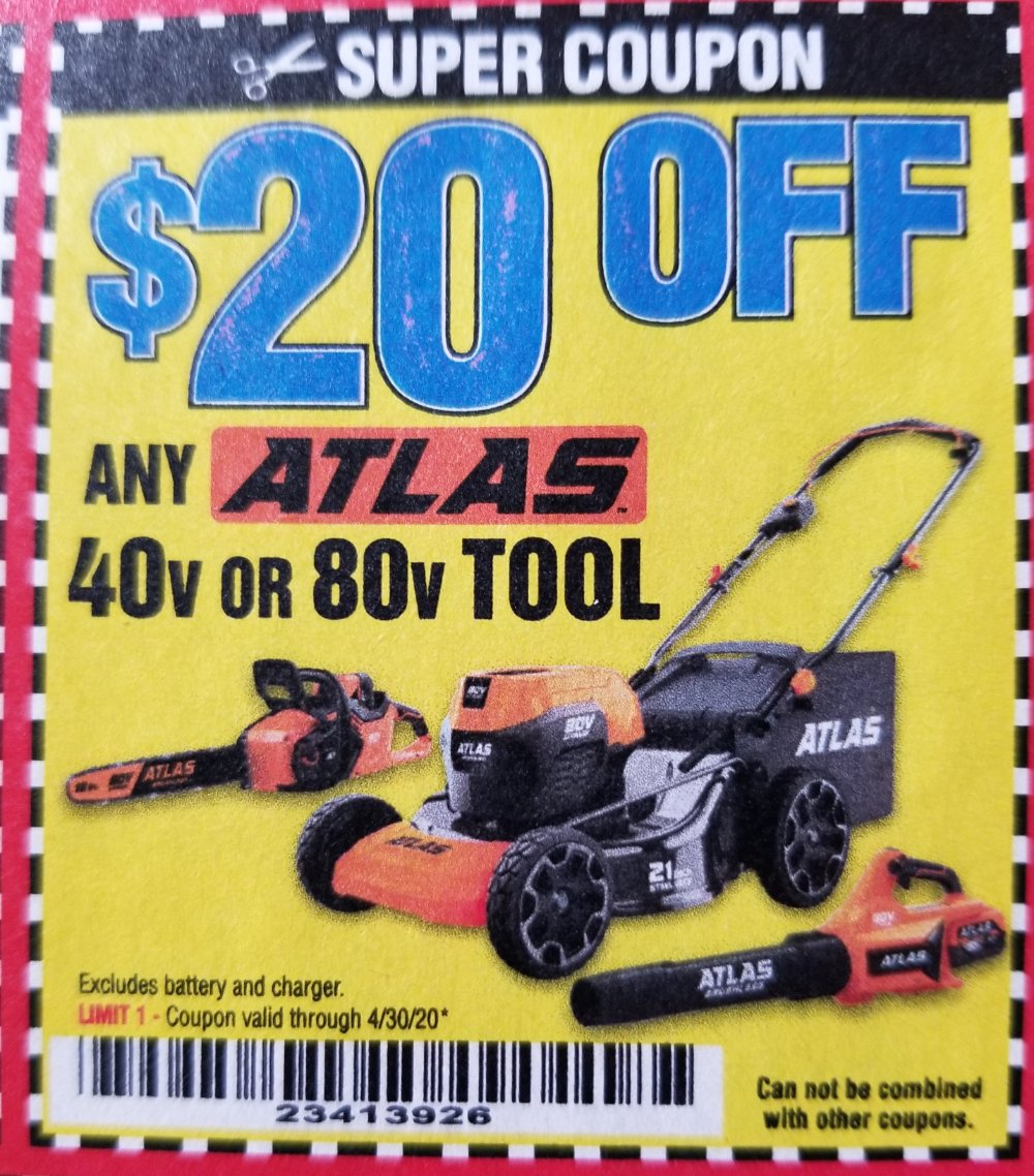 Harbor Freight Coupon, HF Coupons - $20 off any atlas 40v or 80v tool