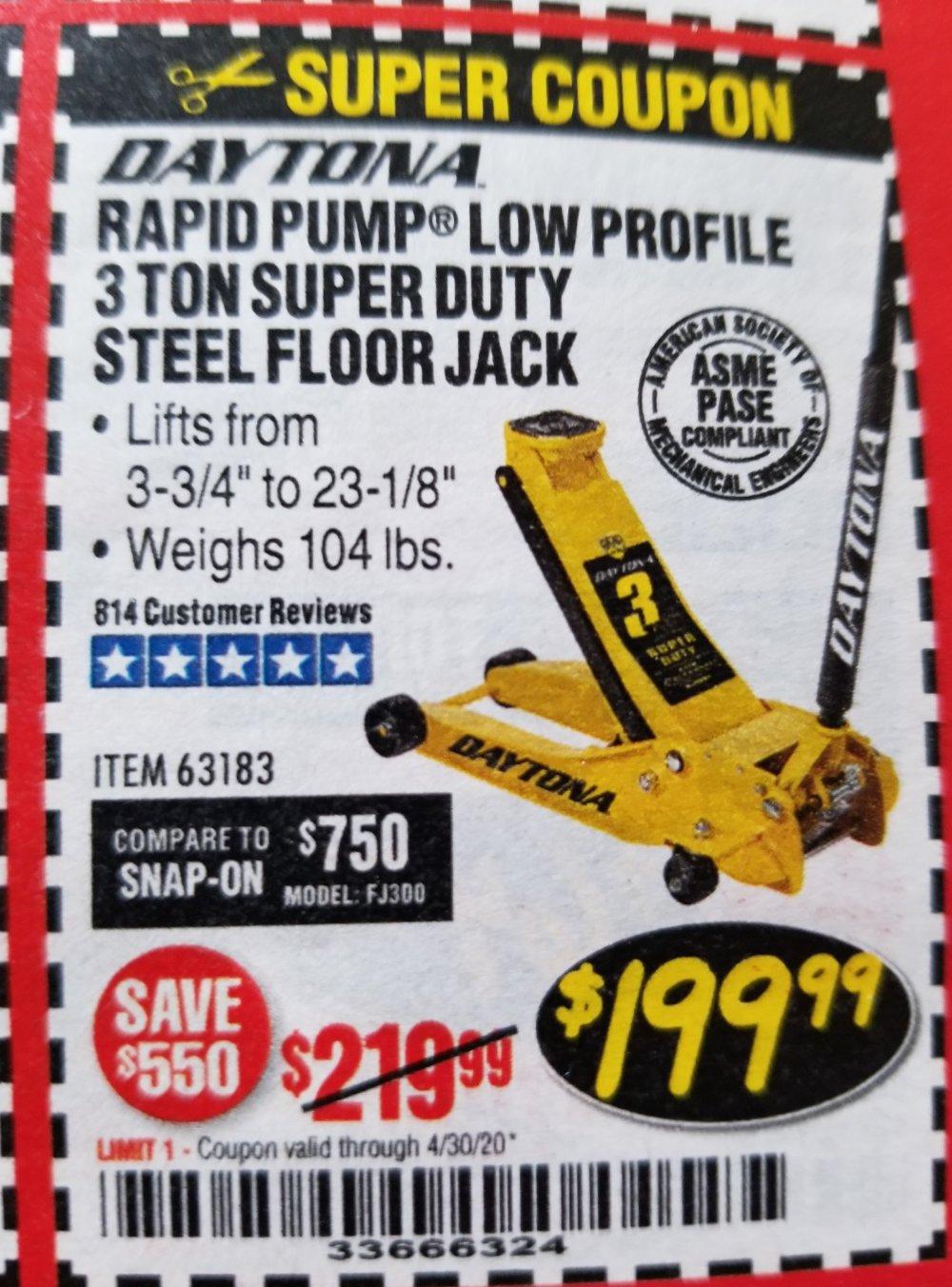 Harbor Freight Coupon, HF Coupons - 3 Ton Daytona Professional Steel Floor Jack - Super Duty