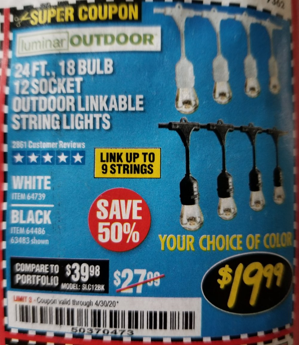 Harbor Freight Coupon, HF Coupons - 24 Ft., 18 Bulb, 12 Socket Outdoor Linkable String Lights