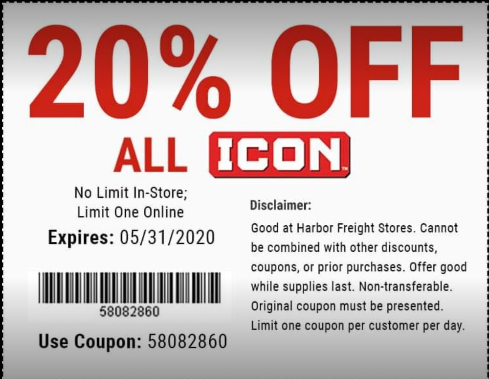 Harbor Freight Coupon, HF Coupons - 20% off all icon