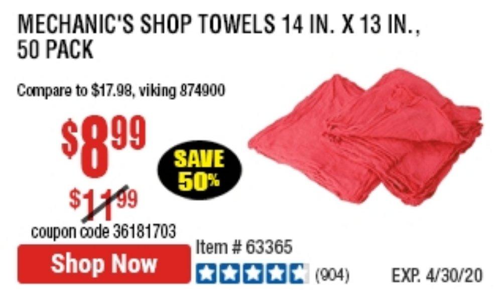 Harbor Freight Coupon, HF Coupons - Mechanics Choice Shop Towels Pack Of 50