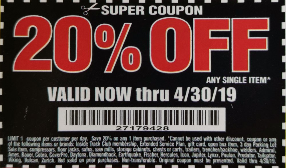 Harbor Freight Coupon, HF Coupons - 20% off super coupon