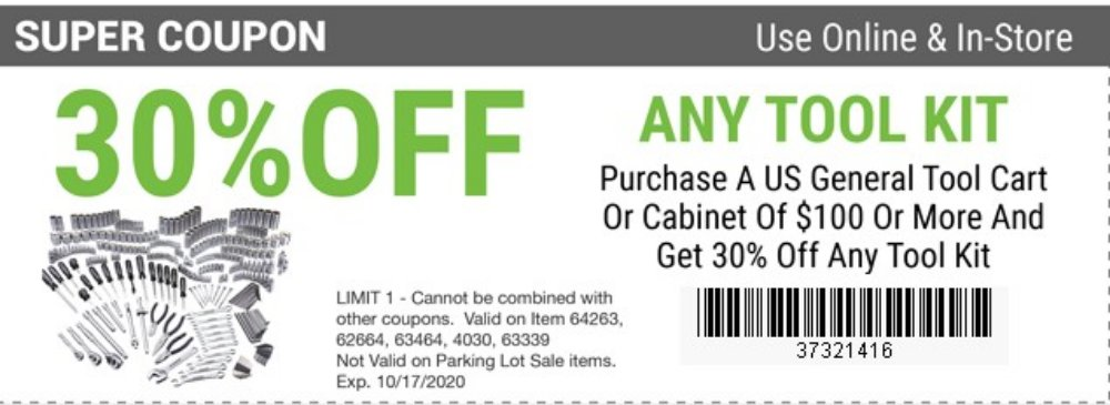 Harbor Freight Coupon, HF Coupons - Tool Kit 30% off  with purchase of US General tool cart