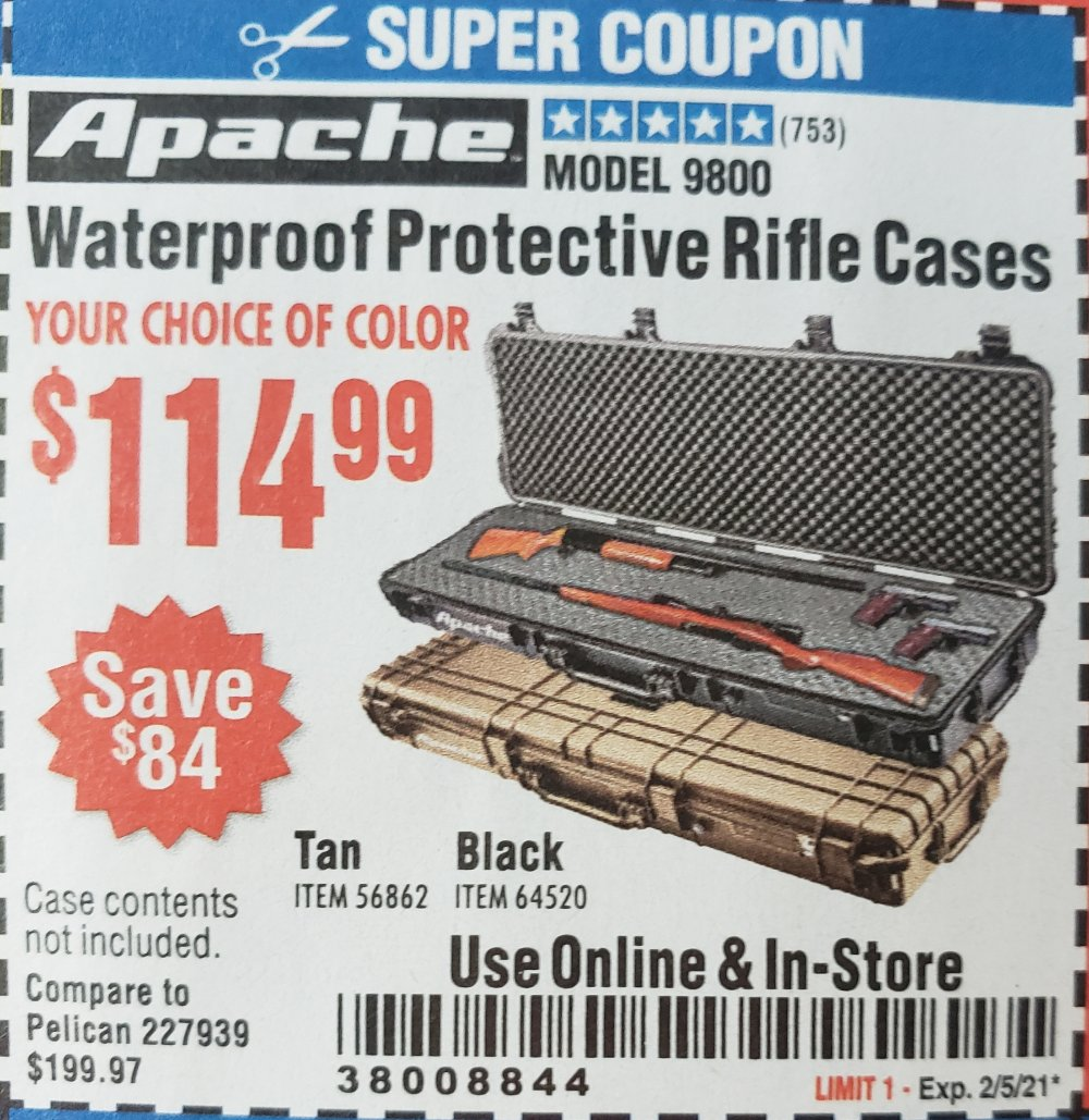 Harbor Freight Coupon, HF Coupons - APACHE 9800 Weatherproof Protective Rifle Case for $114.99