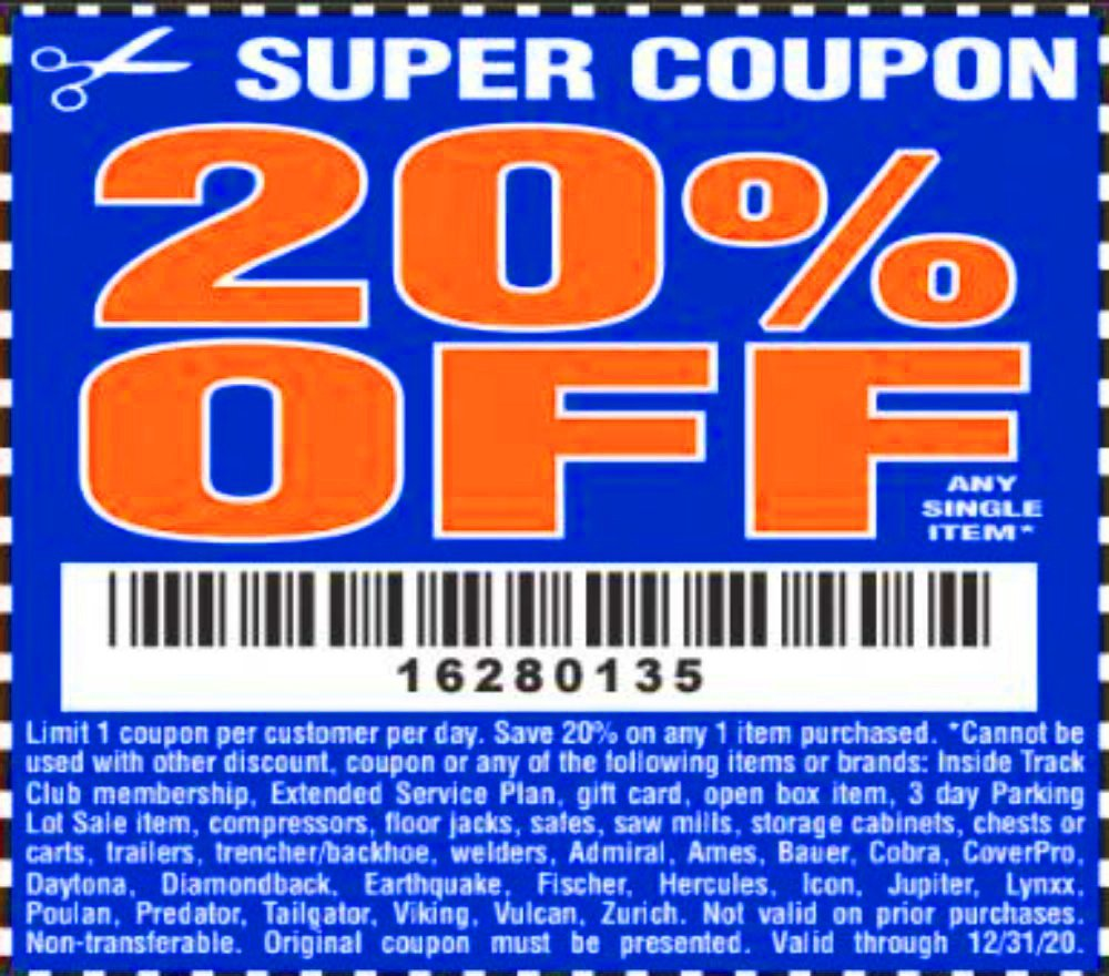 Harbor Freight Coupon, HF Coupons - 20% off 12/31