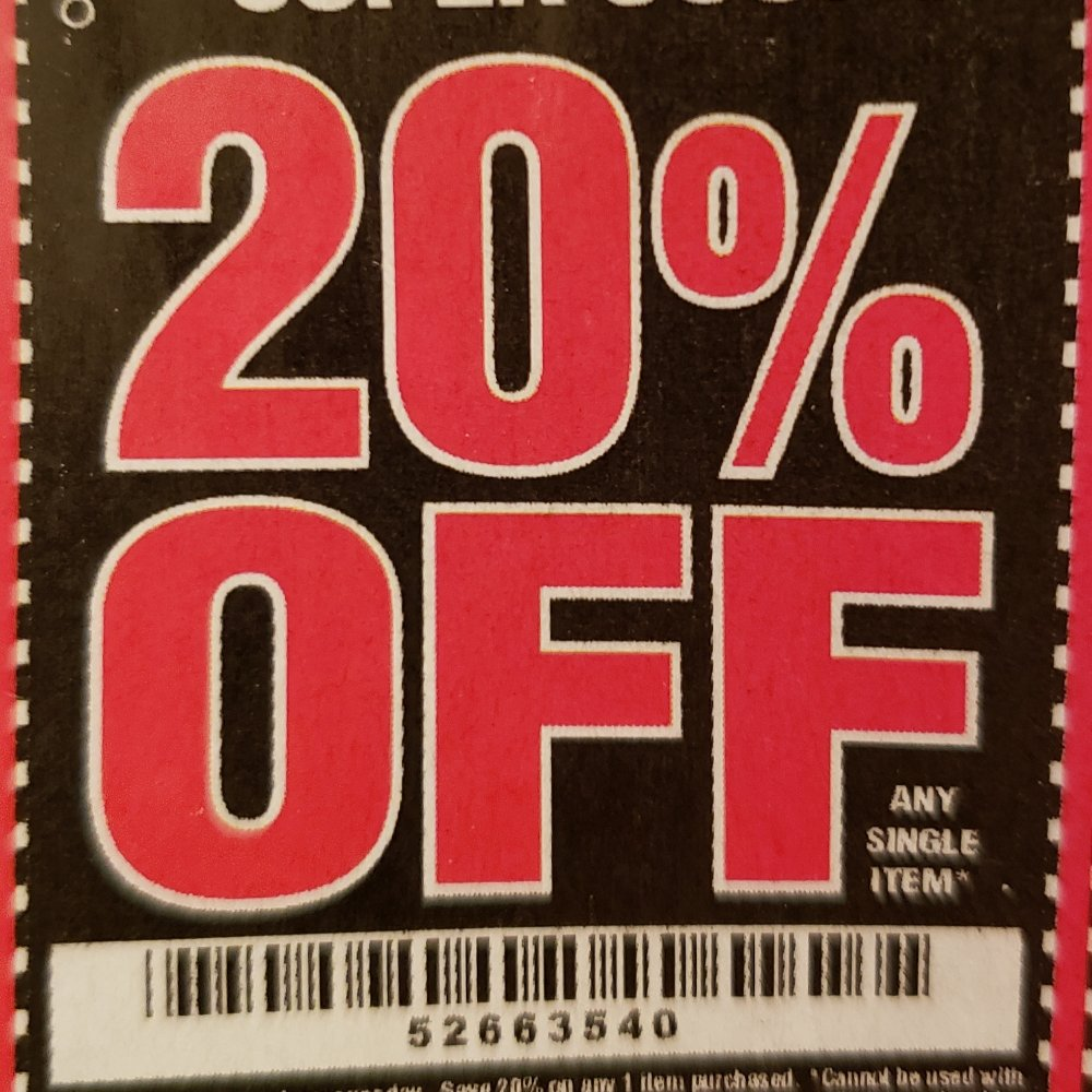Harbor Freight Coupon, HF Coupons - 20 % Off