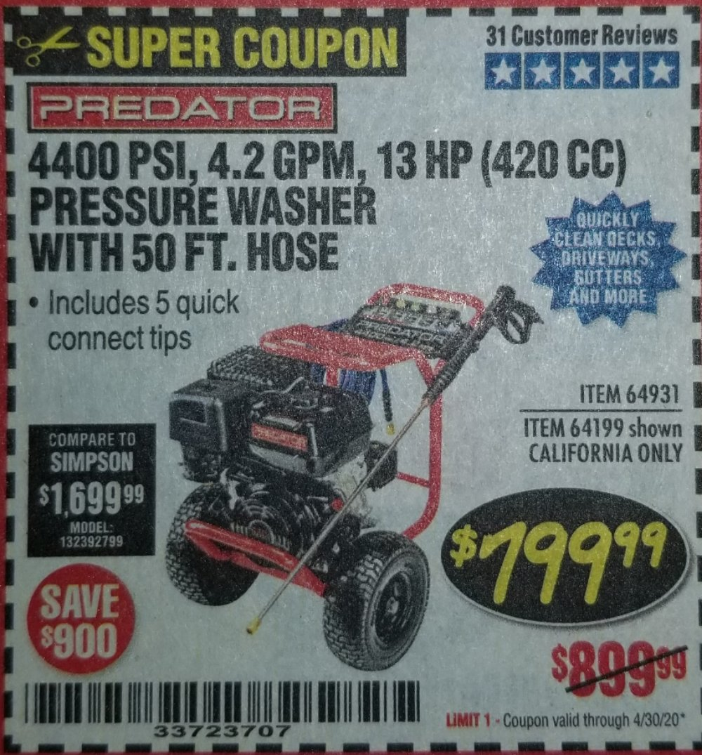 Harbor Freight Coupon, HF Coupons - 4400 Psi, 4.2 Gpm, 13 Hp (420 Cc) Pressure Washer