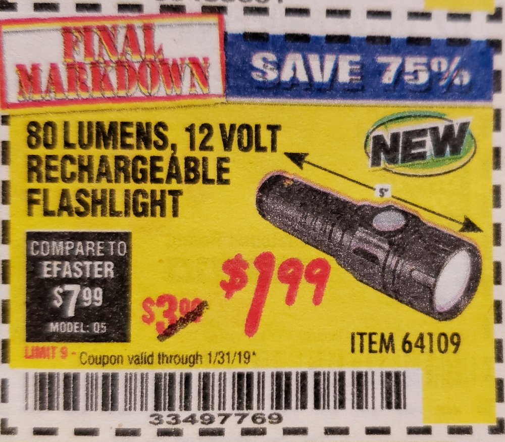 Harbor Freight Coupon, HF Coupons - 80 Lumens 12 Volt Rechargeable Flashlight
