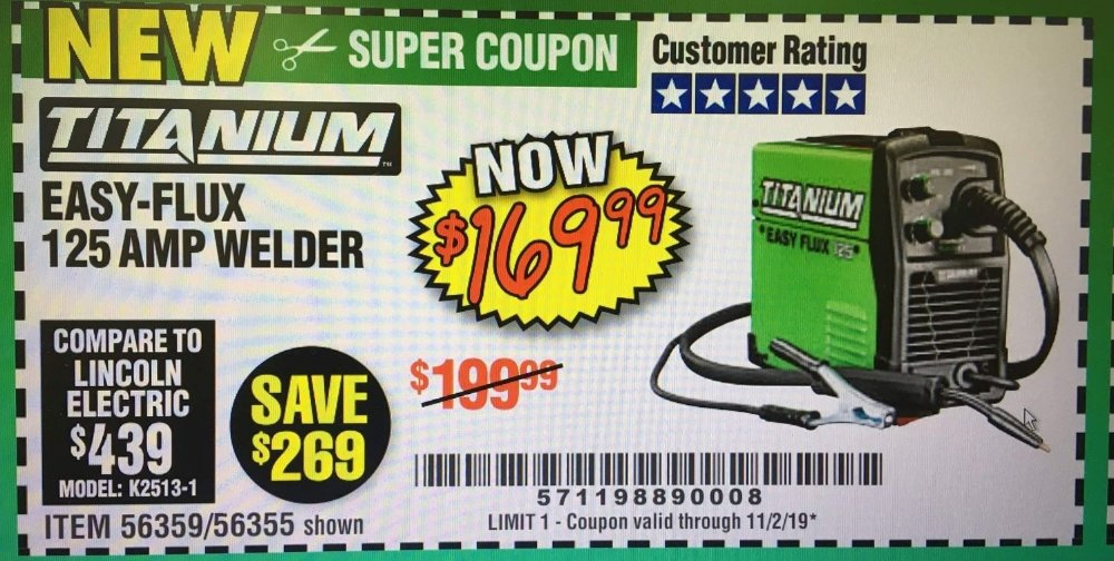 Harbor Freight Coupon, HF Coupons - Titanium Easy Flux 125 Welder