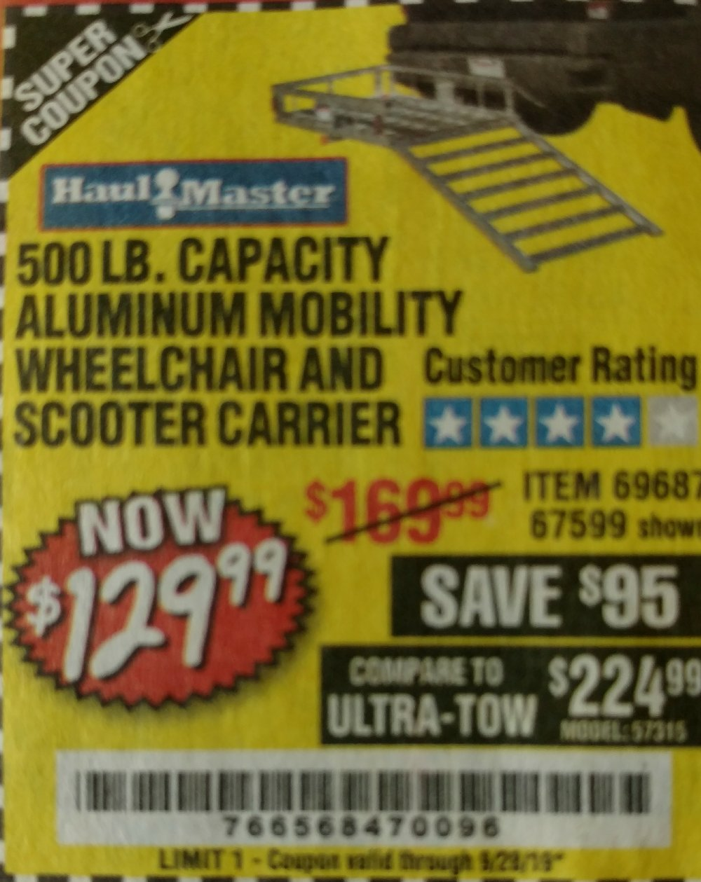 Harbor Freight Coupon, HF Coupons - 500 Lb. Capacity Aluminum Mobility Wheelchair And Scooter Carrier