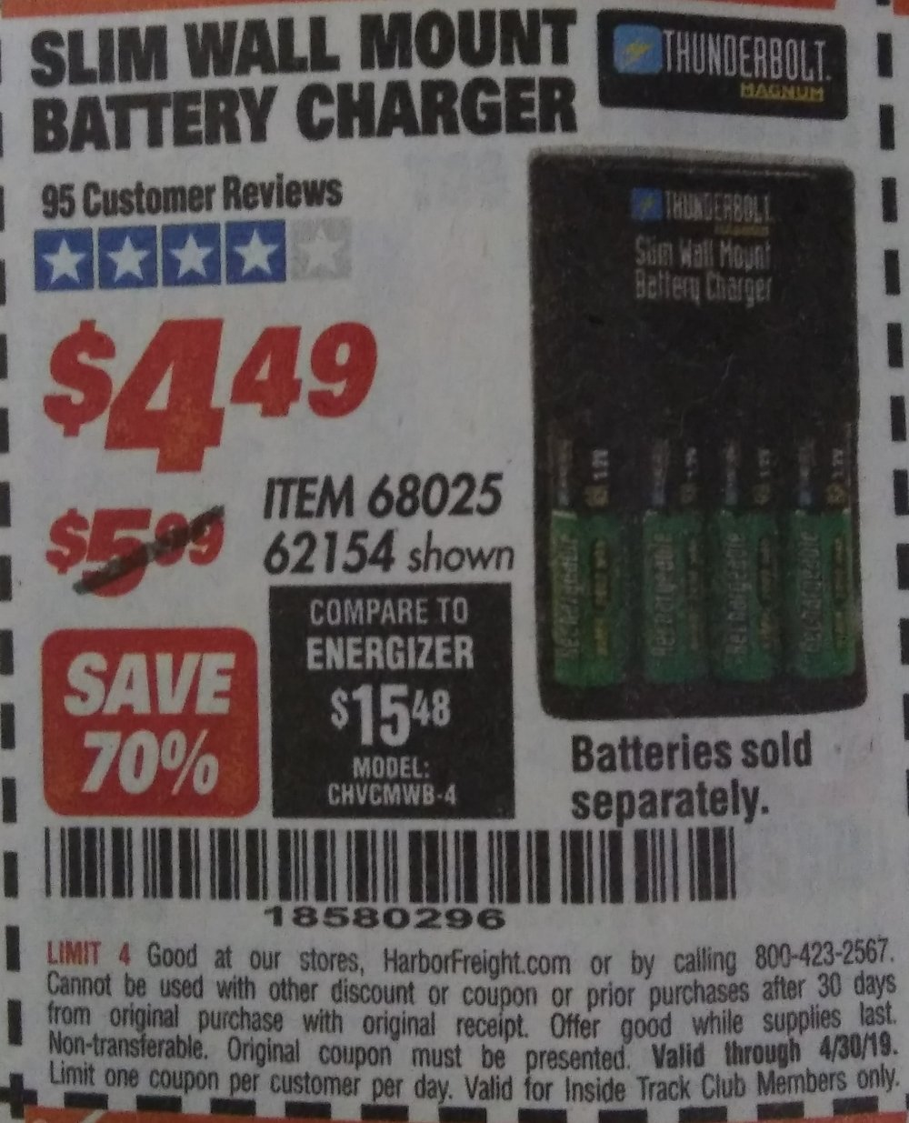 Harbor Freight Coupon, HF Coupons - Slim Wall Mount Battery Charger