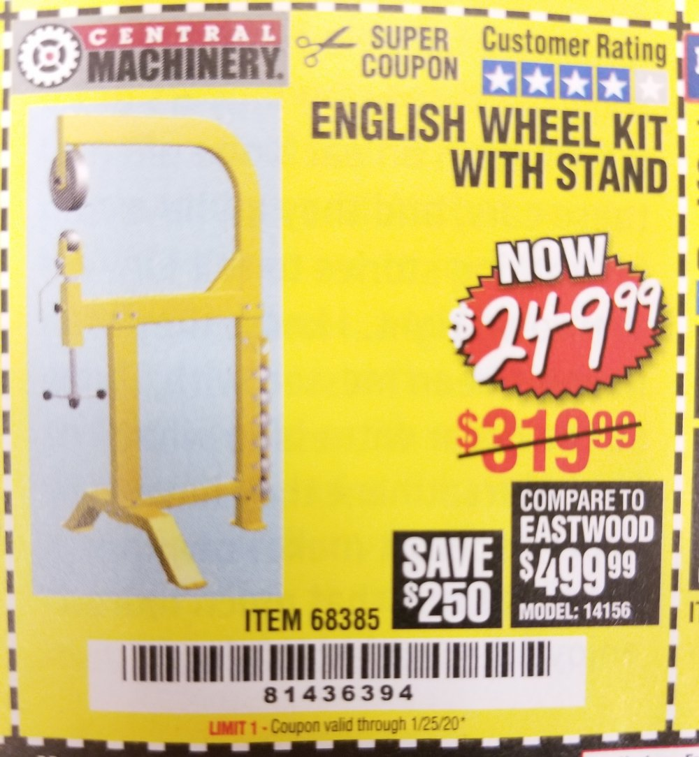 Harbor Freight Coupon, HF Coupons - English Wheel Kit With Stand
