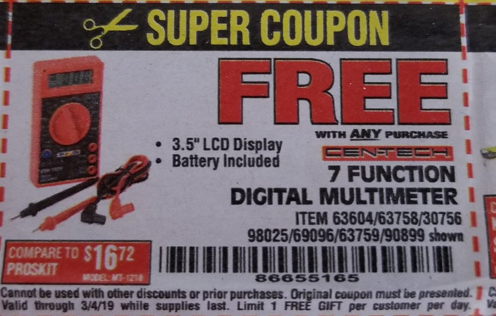 Harbor Freight Coupon, HF Coupons - FREE - 7 Function Digital Multimeter