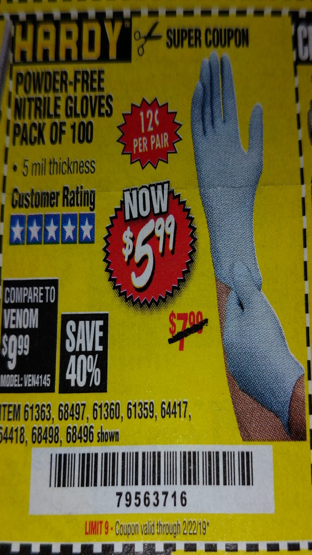 Harbor Freight Coupon, HF Coupons - 5 Mil Nitrile Gloves 100/pk