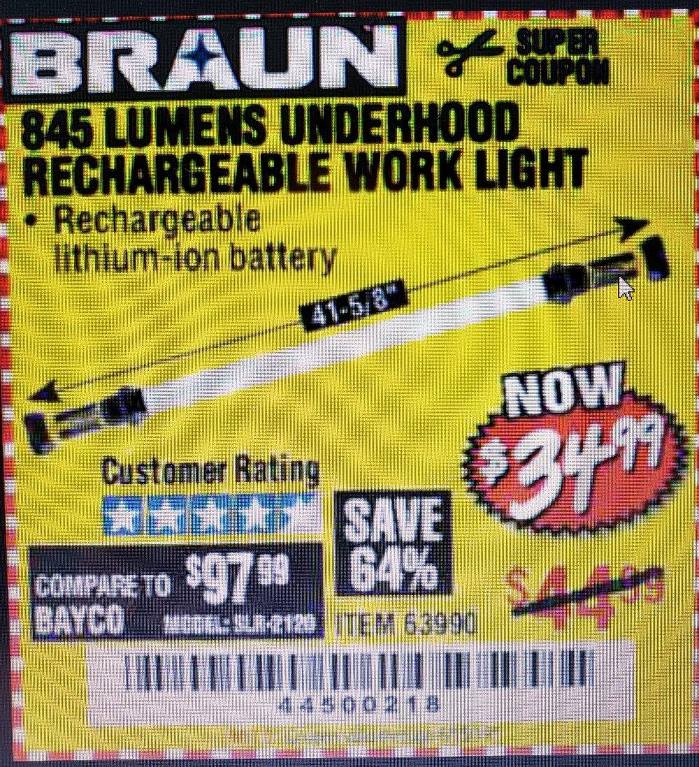 Harbor Freight Coupon, HF Coupons - Braun 845 Lumens Work Light