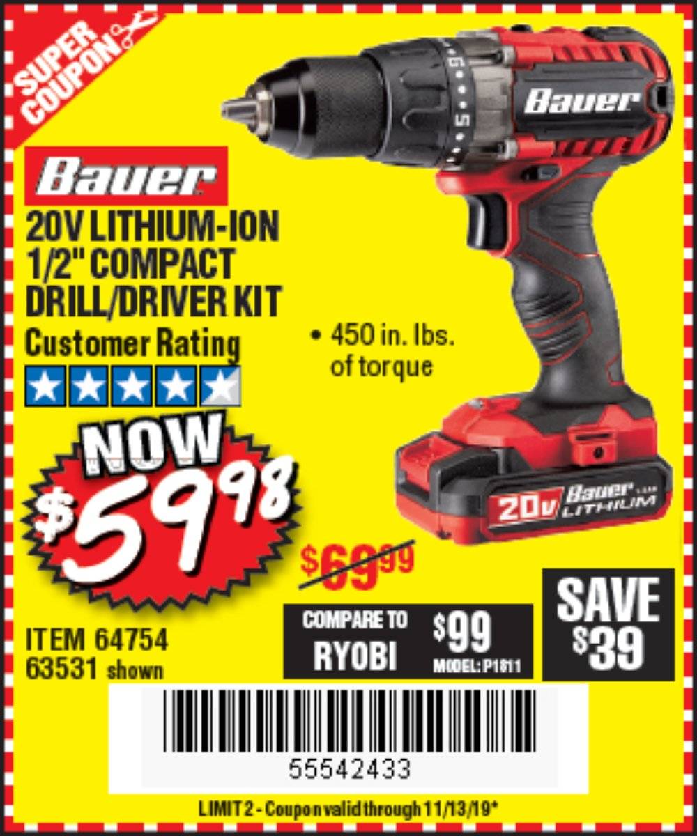 Harbor Freight Coupon, HF Coupons - 20v Hypermax Lithium 1/2 In. Drill/driver Kit