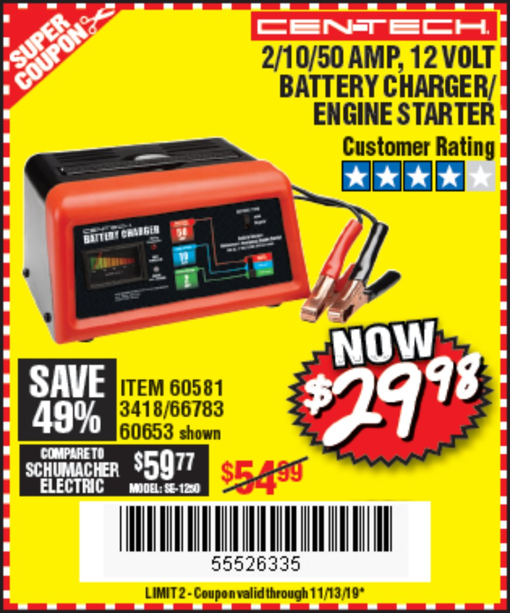 Harbor Freight Coupon, HF Coupons - 12 Volt, 2/10/50 Amp Battery Charger/engine Starter