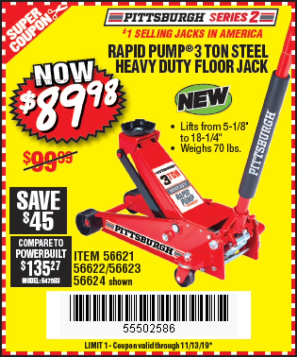 Harbor Freight Coupon, HF Coupons - Rapid Pump 3 Ton Steel Heavy Duty Floor Jack
