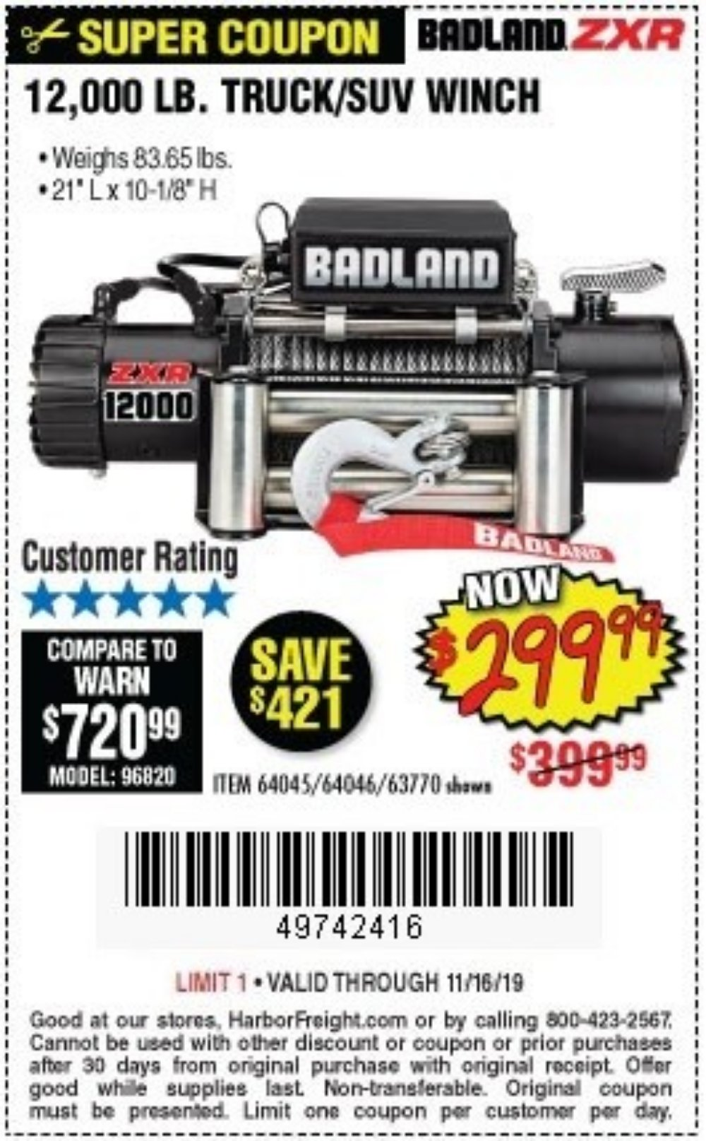 Harbor Freight Coupon, HF Coupons - Badland Zxr12000 12000 Lb. Off-road Vehicle Electric Winch With Automatic Load-holding Brake