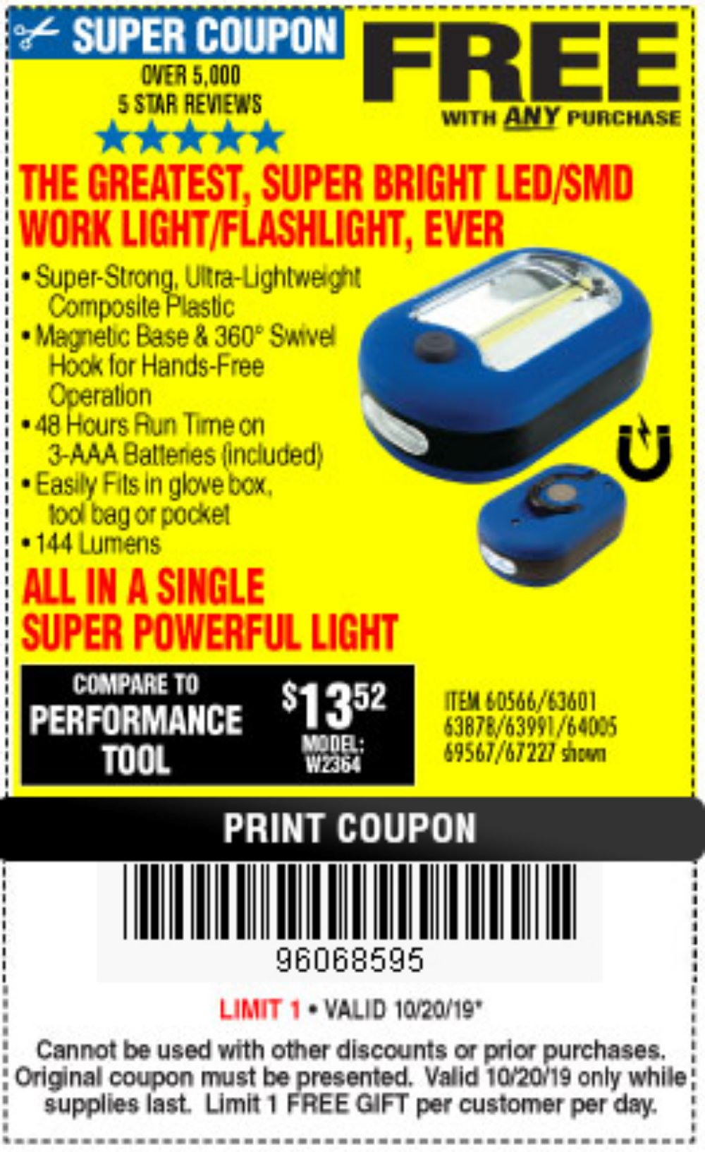 Harbor Freight Coupon, HF Coupons - FREE - Led Portable Worklight/flashlight
