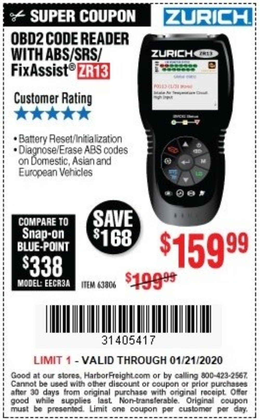 Harbor Freight Coupon, HF Coupons - Zurich Obd2 Scanner With Abs Zr13