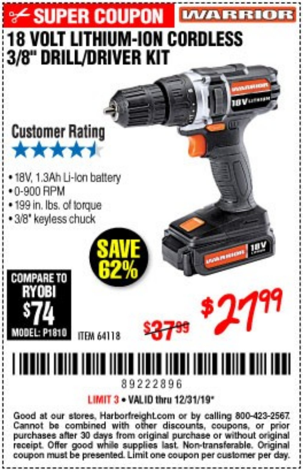 Harbor Freight Coupon, HF Coupons - 18 Volt Lithium Cordless 3/8