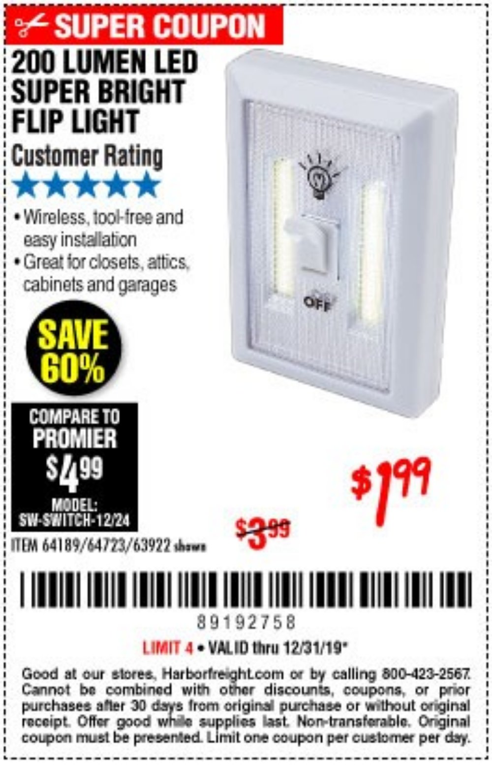 Harbor Freight Coupon, HF Coupons - Led Super Bright Flip Light