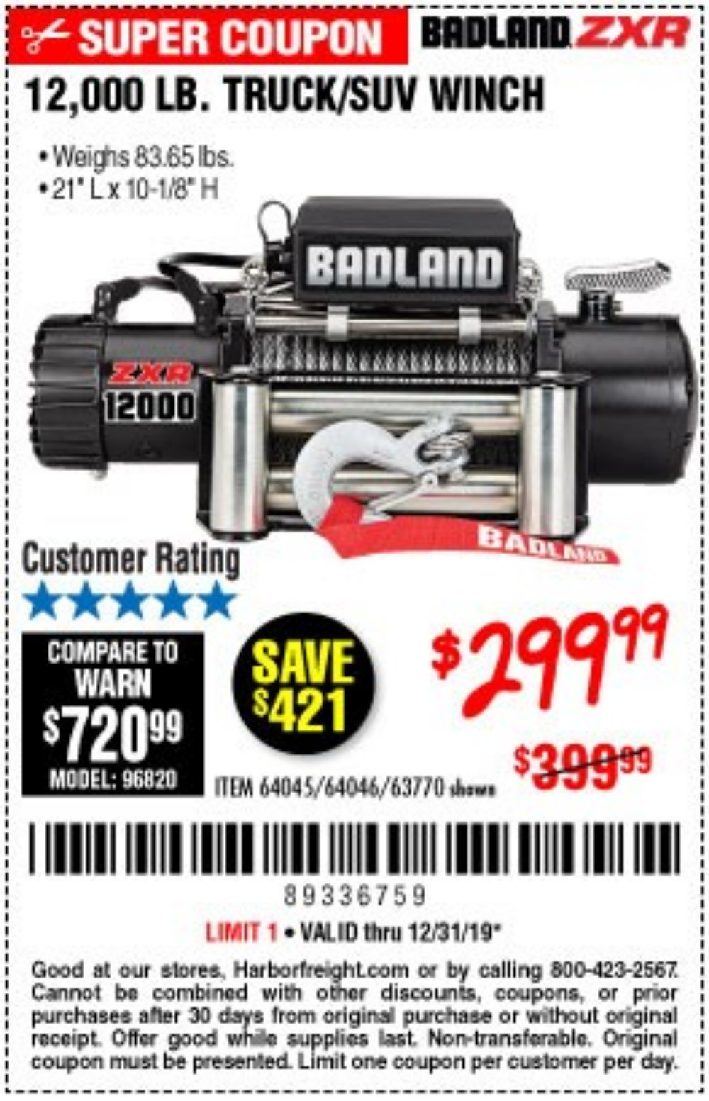 Harbor Freight Coupon, HF Coupons - 12,000 Lb. Truck/suv Winch
