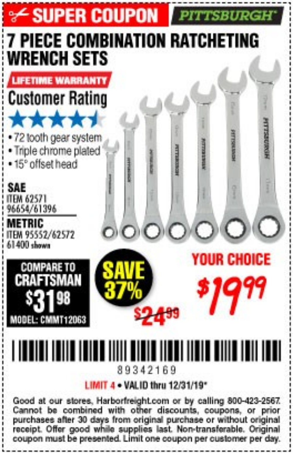 Harbor Freight Coupon, HF Coupons - 7 Piece Combination Ratcheting Wrench Set