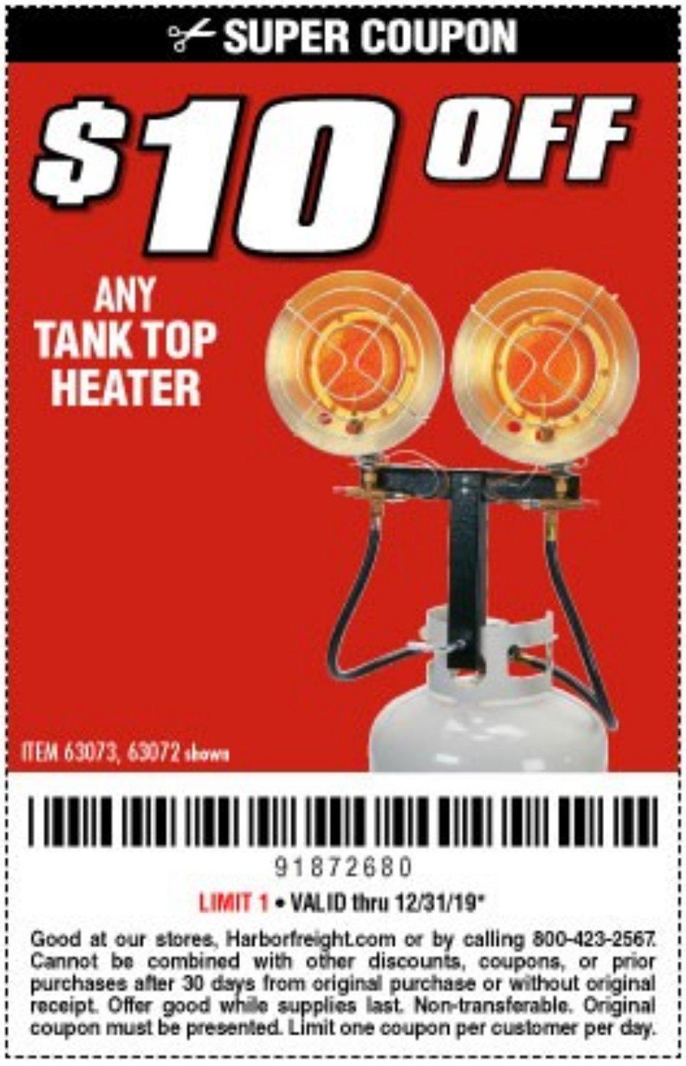 Harbor Freight Coupon, HF Coupons - $10 off tank top heater