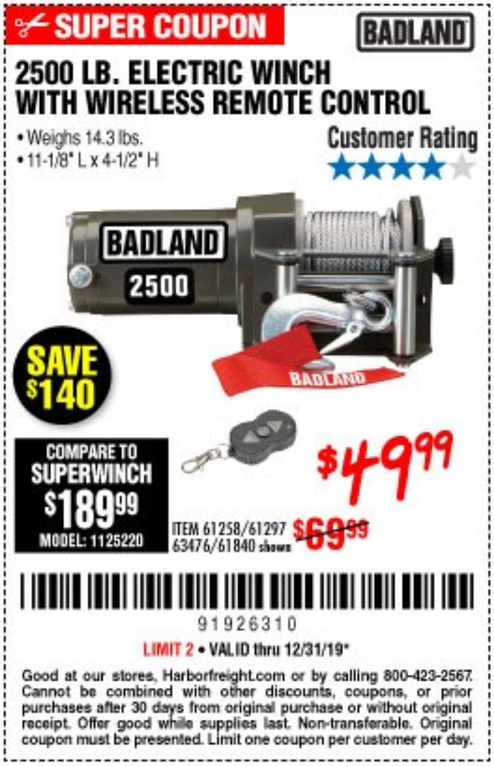 Harbor Freight Coupon, HF Coupons - 2500 Lb Electric Winch With Wireless Remote Control