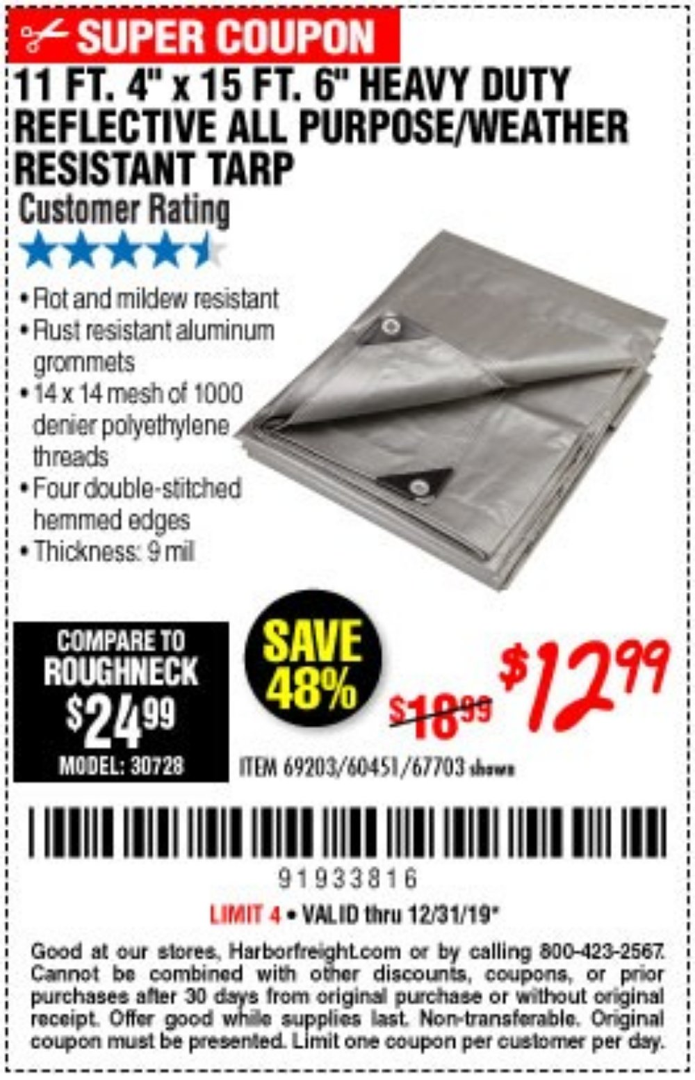 Harbor Freight Coupon, HF Coupons - 11 Ft. 4 In. X 15 Ft. 6 In. Silver/heavy Duty Reflective All Purpose/weather Resistant Tarp