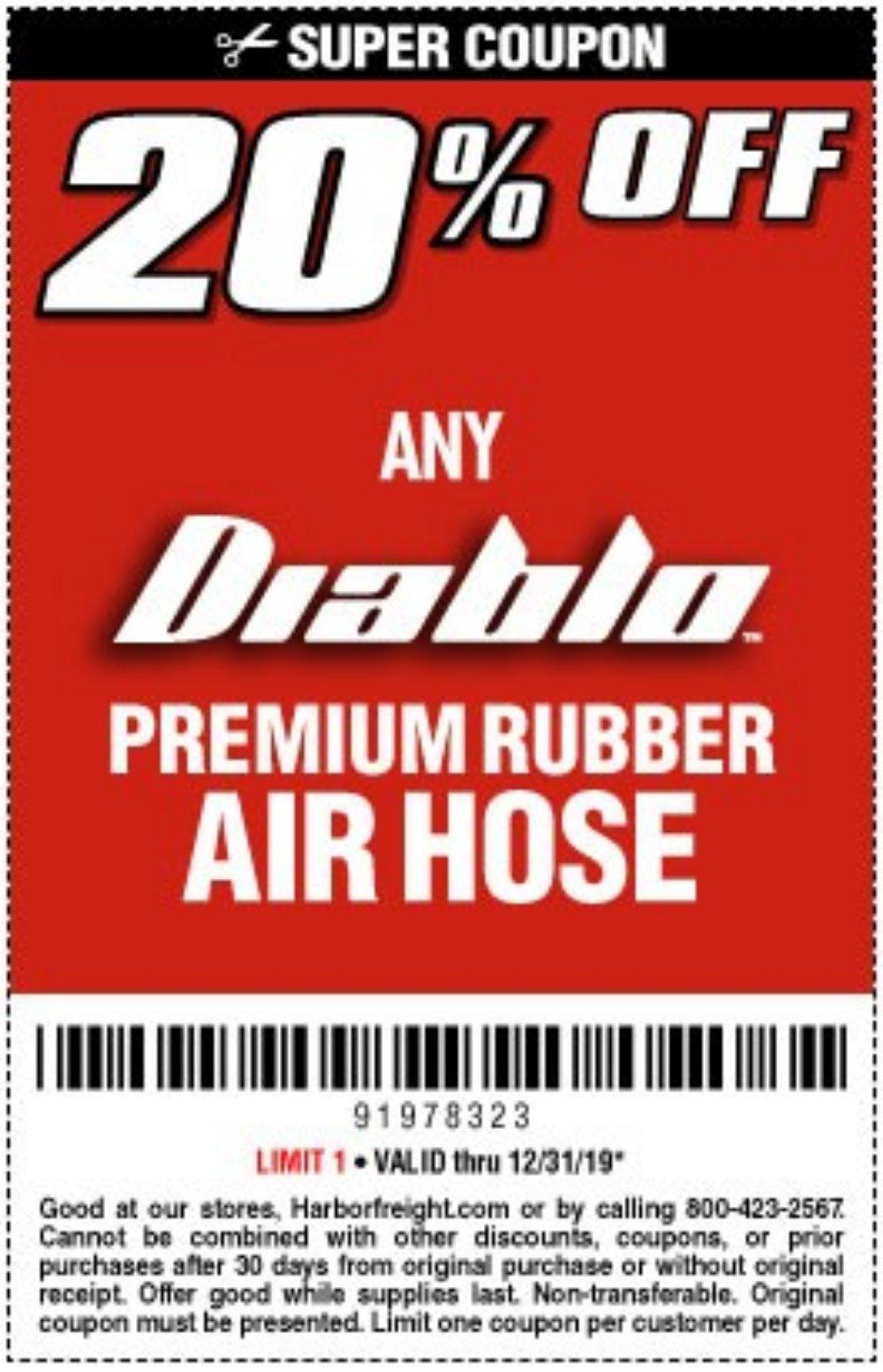 Harbor Freight Coupon, HF Coupons - 20 percent off Diablo air hose