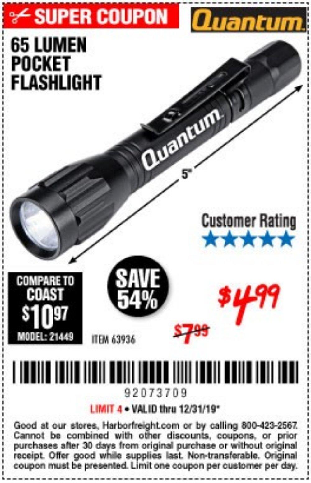 Harbor Freight Coupon, HF Coupons - 65 Lumens Pocket Flashlight