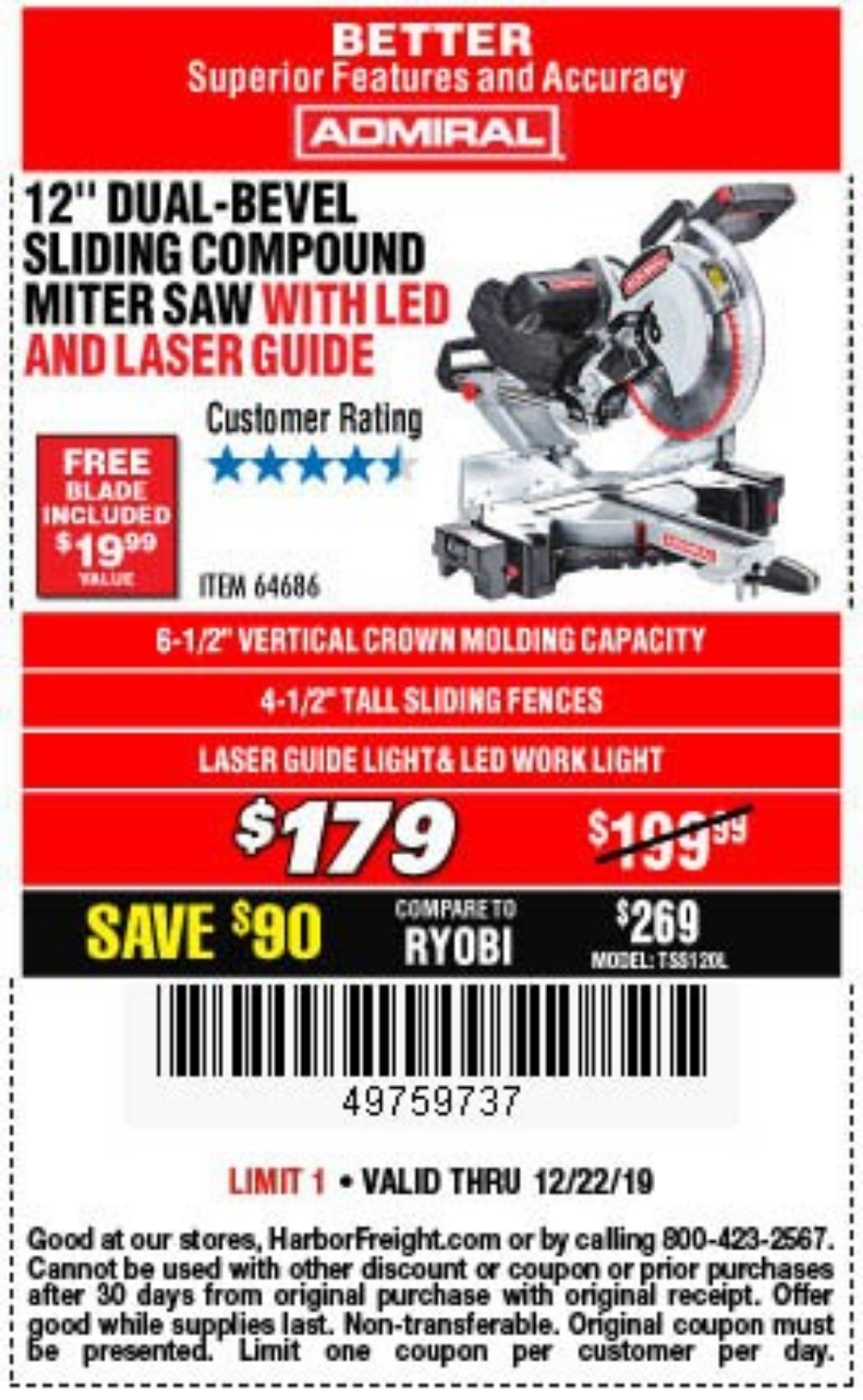 Harbor Freight Coupon, HF Coupons - Admiral 12
