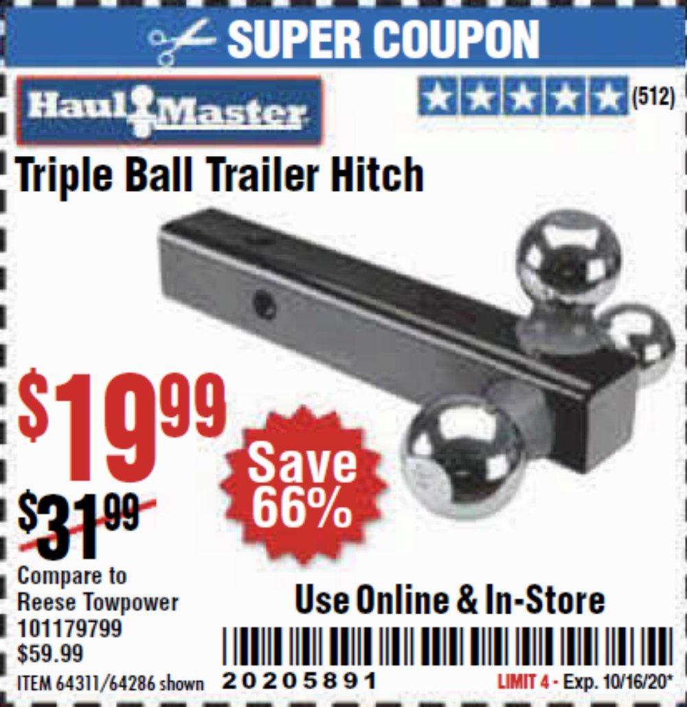 Harbor Freight Coupon, HF Coupons - Haul Master Triple Ball Hitch