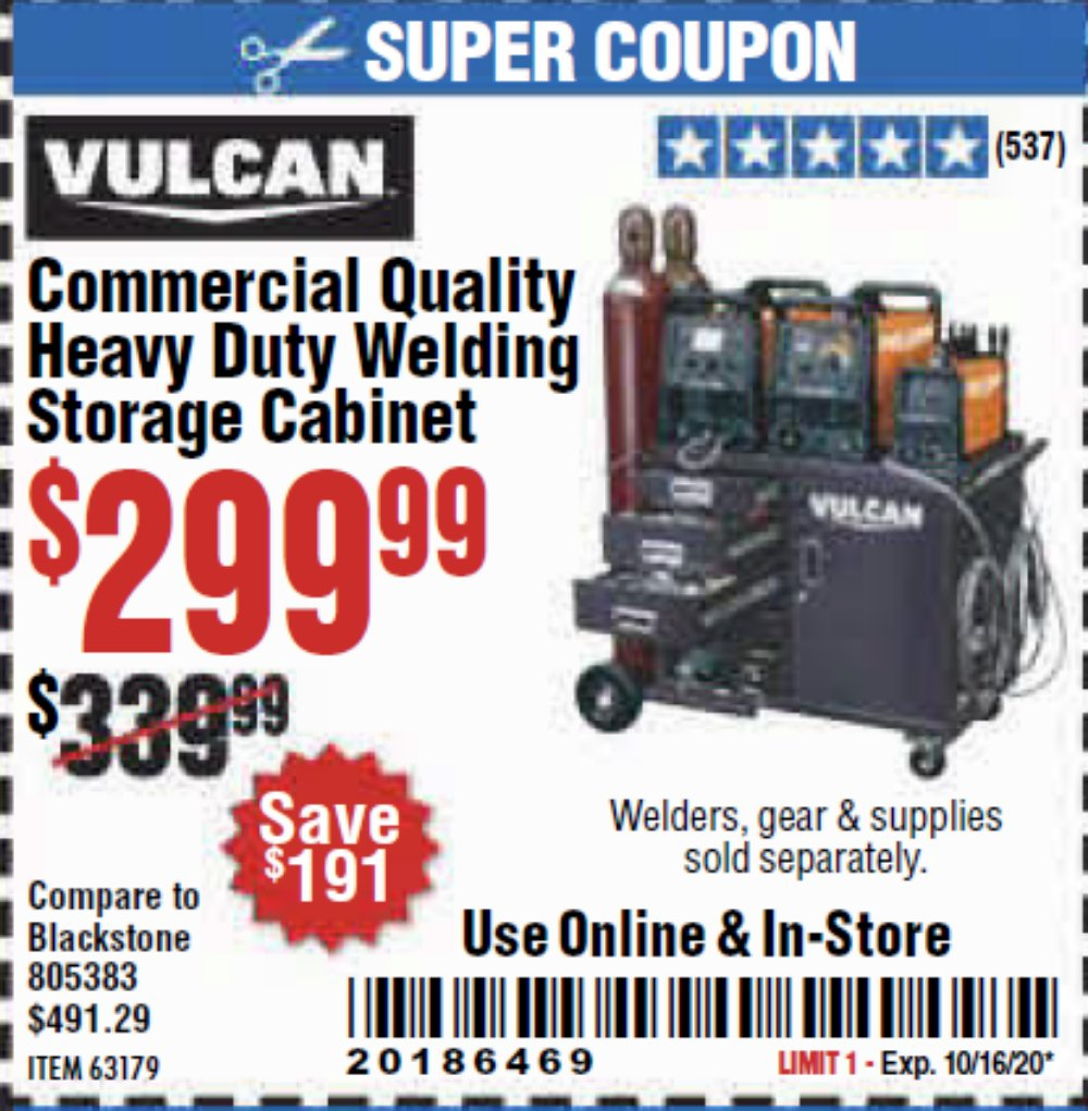 Harbor Freight Coupon, HF Coupons - Vulcan Commercial Quality Heavy Duty Welding Cabinet