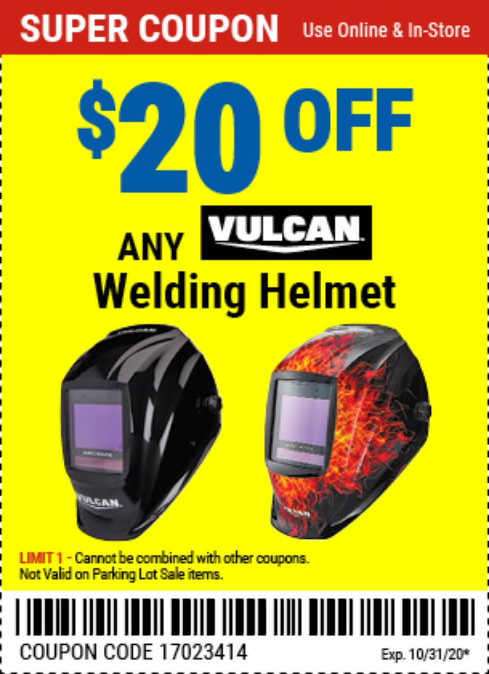 Harbor Freight Coupon, HF Coupons - $20 off Any Vulcan Helmet