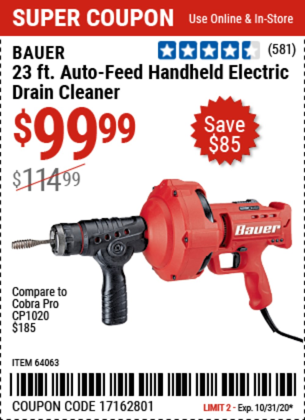 Harbor Freight Coupon, HF Coupons - Bauer 23 Ft Auto Feed Handheld Electric Drain Cleaner