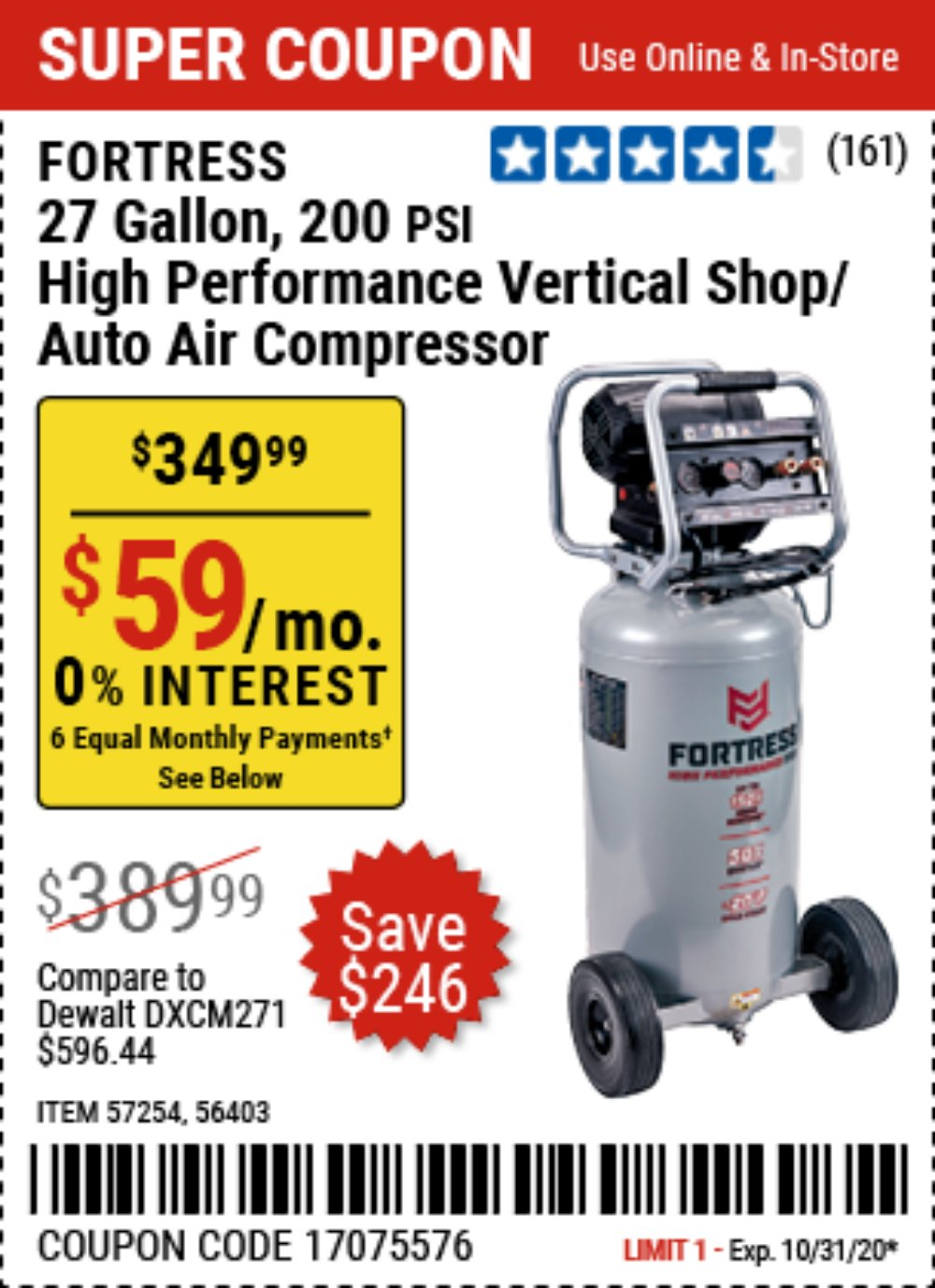 Harbor Freight Coupon, HF Coupons - Fortress 27 Gallon Oil-free Professional Air Compressor