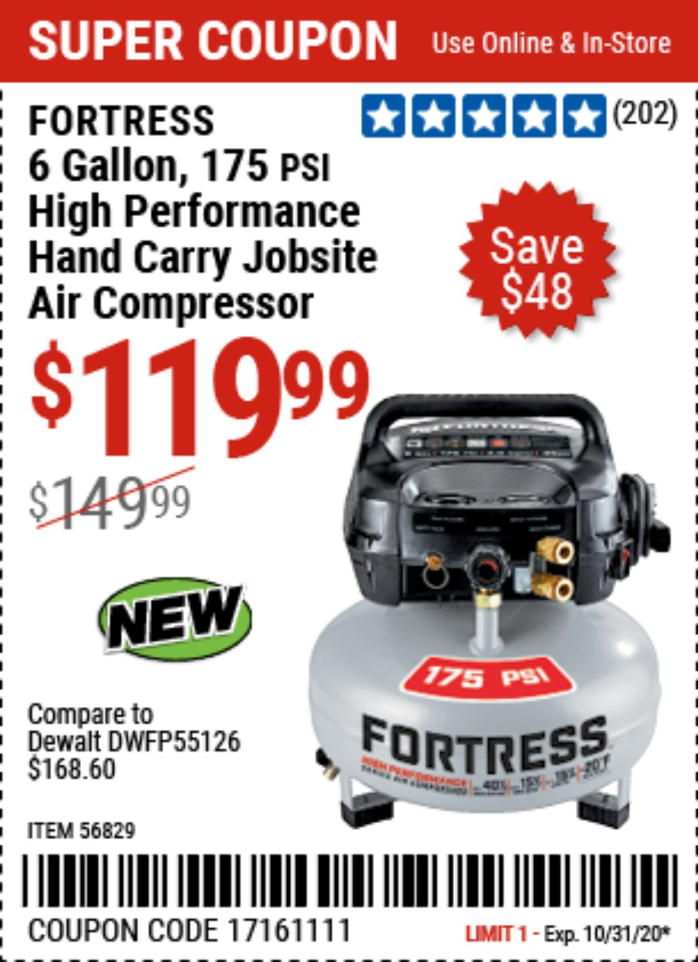 Harbor Freight Coupon, HF Coupons - FORTRESS 6 Gallon 175 PSI High Performance Hand Carry Jobsite Air Compressor for $119.99