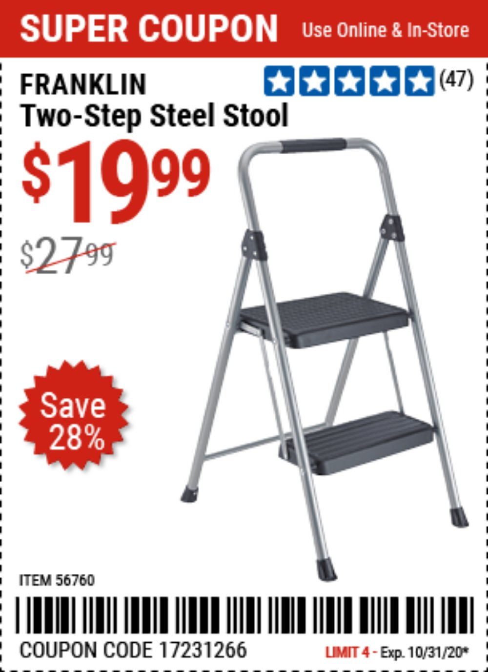 Harbor Freight Coupon, HF Coupons - FRANKLIN Two-Step Stool