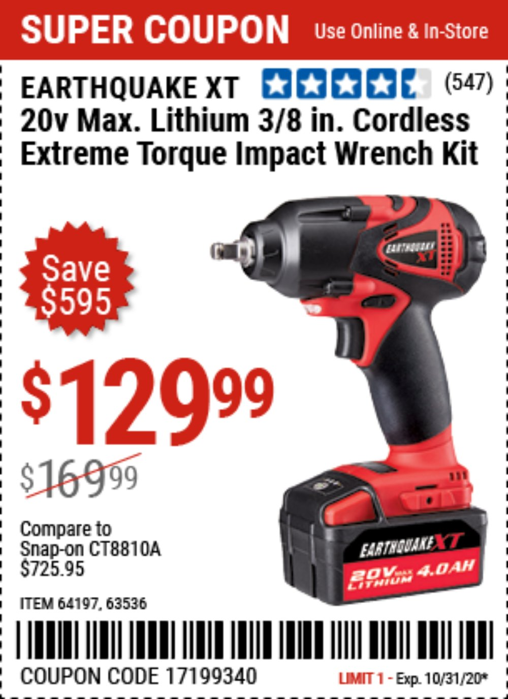 Harbor Freight Coupon, HF Coupons - 20 Volt Lithium Cordless 3/8