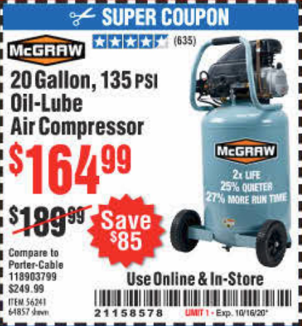 Harbor Freight Coupon, HF Coupons - 20 Gallon 1.6 How 135 Psi Oil Lube Vertical Air Compressor