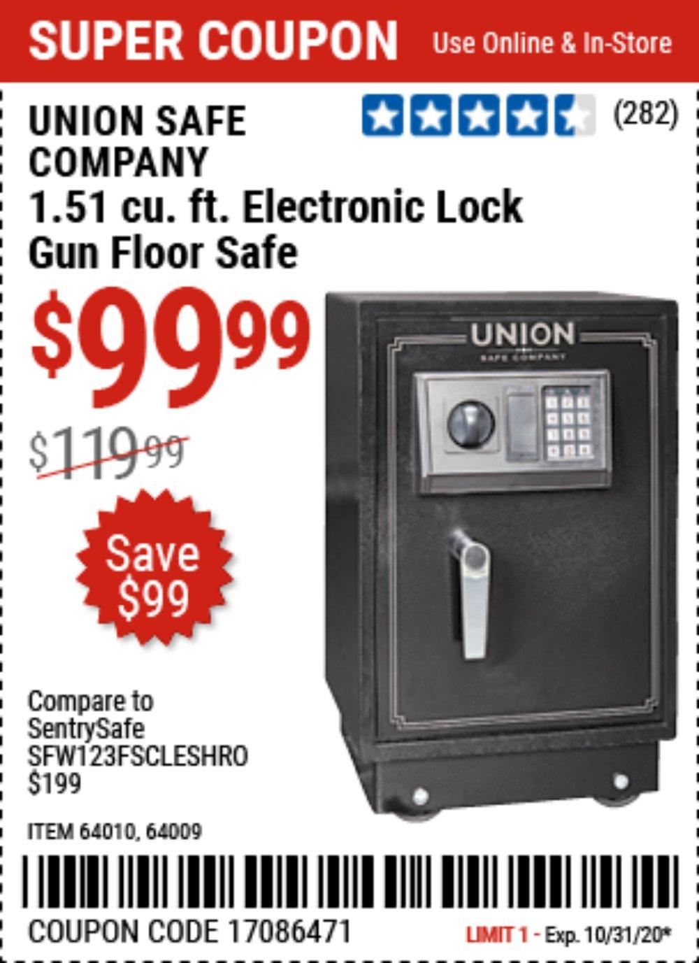 Harbor Freight Coupon, HF Coupons - 1.51 Cubic Ft. Lock Gun Floor Safe