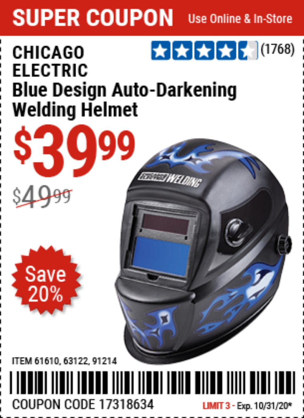 Harbor Freight Coupon, HF Coupons - Auto-darkening Welding Helmet With Blue Flame Design