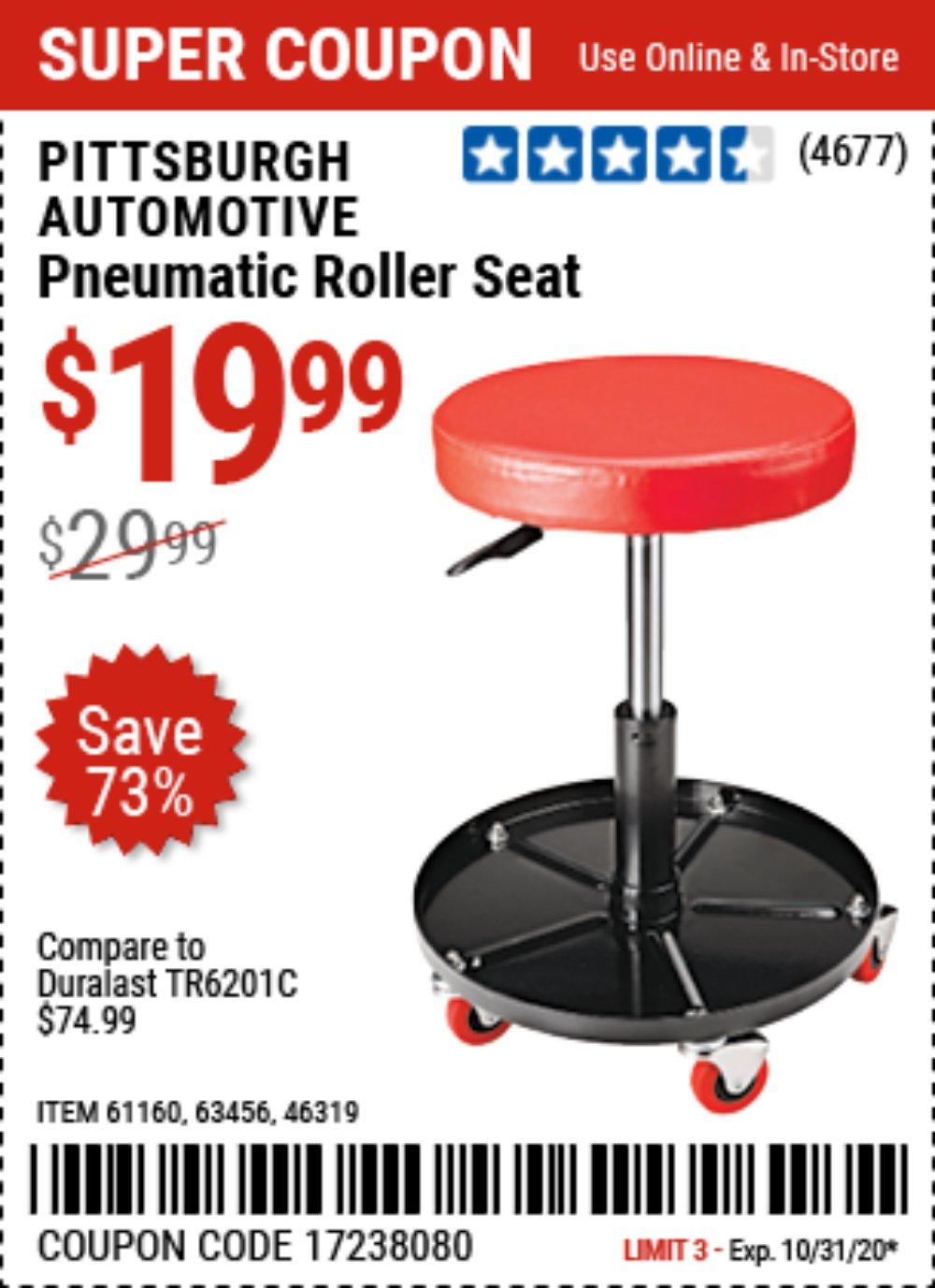 Harbor Freight Coupon, HF Coupons - Mechanic's Roller Seat, Pneumatic Adjustable Roller Seat