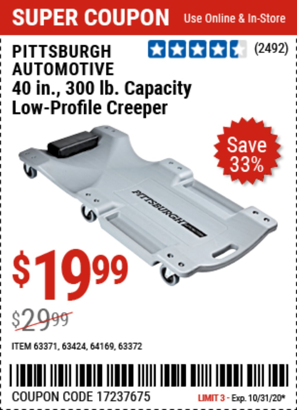 Harbor Freight Coupon, HF Coupons - Low-profile Creeper