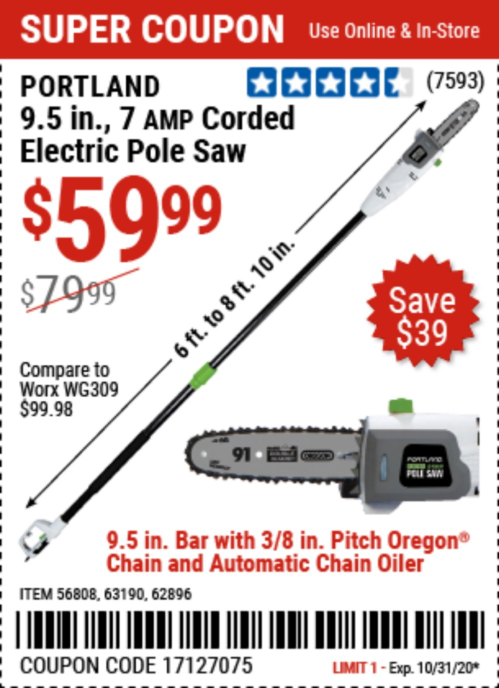 Harbor Freight Coupon, HF Coupons - 7 Amp 1.5 Hp Electric Pole Saw