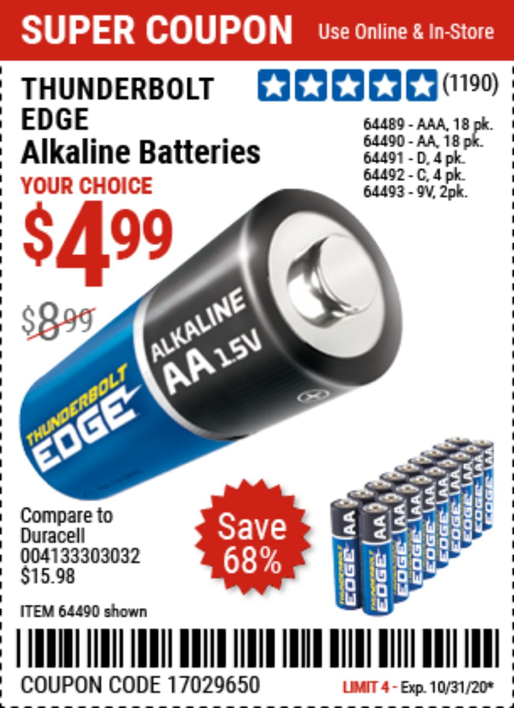 Harbor Freight Coupon, HF Coupons - THUNDERBOLT EDGE Alkaline Batteries for $4.99